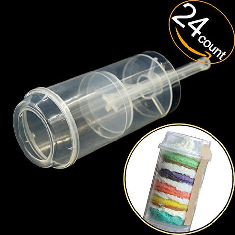 EKIND Clear Push-Up Cake Pop Shooter (Push Pops) Plastic Containers with Lids, Base & Sticks