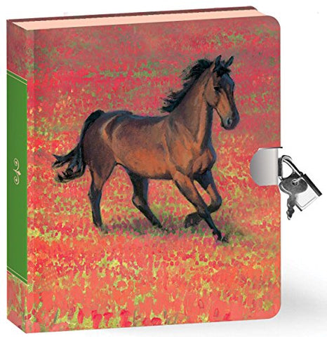 Peaceable Kingdom Wild Horse 6.25 Lock and Key, Lined Page Diary for Kids
