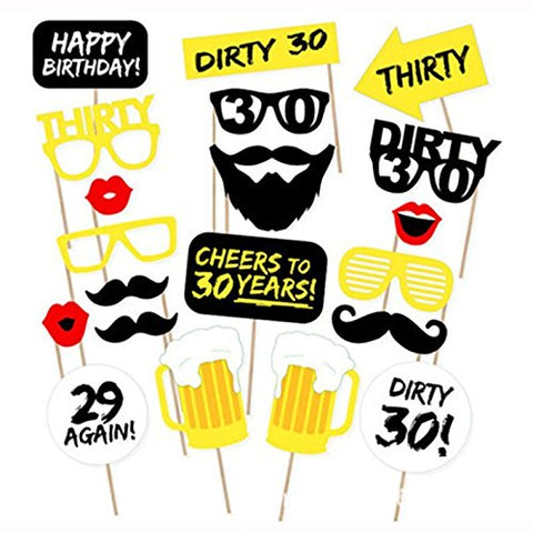 Rainlemon(TM) Happy 30th Birthday Party Photo Booth Props Kit