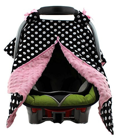 Dear Baby Gear Carseat Canopy, Polka Dots White on Black, Pink Minky