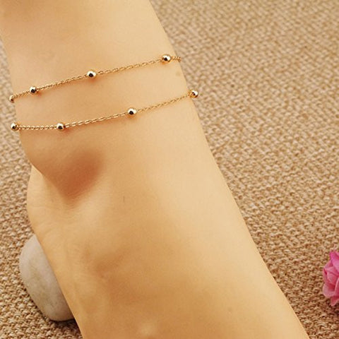 Aukmla Hot Summer Ankle Accessories for Women, Vintage Foot Bracelets for Girls (Gold)
