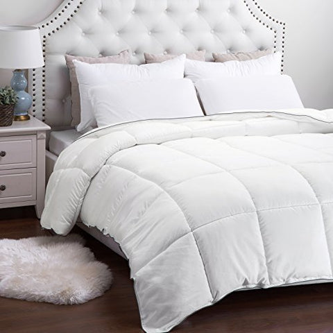Full/Queen Comforter Duvet Insert with Corner Ties-Quilted Down Alternative Comforter Box Stitching Design White 88 x88  by Bedsure