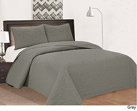 Royal Home Decor 3-pc Bedspread Set with Medallion Pattern (Queen, Grey)