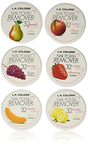 LA Colors Nail Polish Remover Pads, Acetone Free Fruit Scent(6 Boxes of 32 Pads)