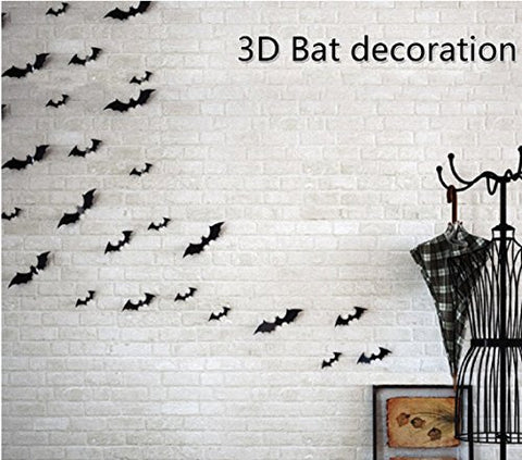 Yunko 12 Pcs 3d PVC Diy Black Bat Wall Decals Sticker,Halloween Eve Decor Home Window Decoration