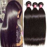 ALI JULIA Wholesale 7A Peruvian Straight Virgin Hair Weave 3 Bundles 100% Unprocessed Remy Human Hair Weft Extensions 95-100g/pc(8 10 12, Natural black color)