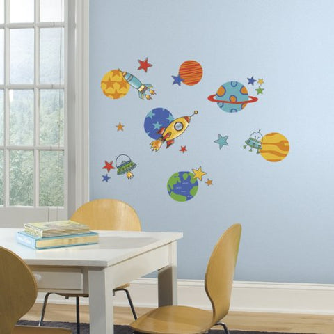 RoomMates RMK2618SCS Planets and Rockets Peel and Stick Wall Decals