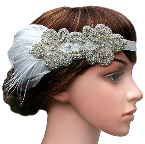 BABEYOND 1920s Headband Flapper Headbands 1920s Great Gatsby Style Bridal Feather Headpiece (White)