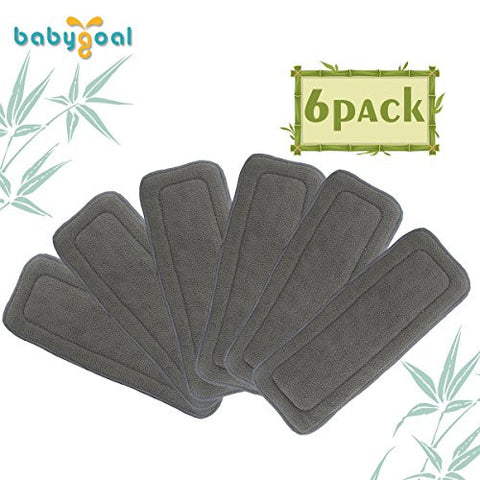 Babygoal Baby 5-layer Charcoal Bamboo Reusable Liners for Cloth Diapers Nappies 6pcs 6ztnf