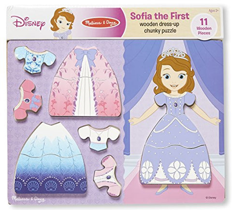 Melissa & Doug Disney Sofia the First Dress-Up Wooden Chunky Puzzle (11 pcs)
