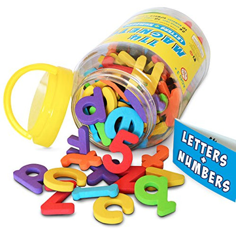 Magnetic Letters and Numbers by Curious Columbus. Set of 114 Premium Quality, ABC, 123 Colorful Foam Alphabet Magnets. Top Rated Best Educational Toy for Preschool Learning, Spelling, Counting