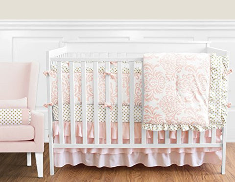 Blush Pink White Damask and Gold Polka Dot Amelia Baby Girls 9 Piece Crib Bedding Set with Bumper