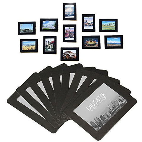 Magnetic Photo Picture Frames and Refrigerator Magnets, Pocket Frame for Refrigerator, White, Black, Holds 4x6 3.5x5 2.5x3.5 Inches Photos, (Black)