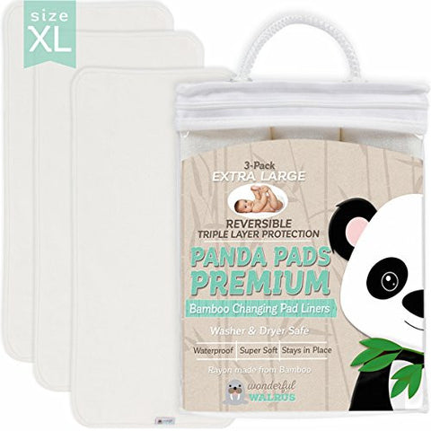PANDA PADS PREMIUM X-LARGE REVERSIBLE Bamboo Changing Pad Liners. NO-SLIP 3-Layer Design. Ultra Soft & Absorbent - Waterproof - Machine Wash & Dry, Antibacterial & Hypoallergenic. Great Gift!