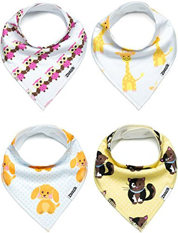 "Unisex Baby Bandana Drool Bibs, Gift Set for Drooling and Teething Boys and Girls, 100% Organic Cotton, Soft, Absorbent, Hypoallergenic - ""Animals set"" By Zoozik"