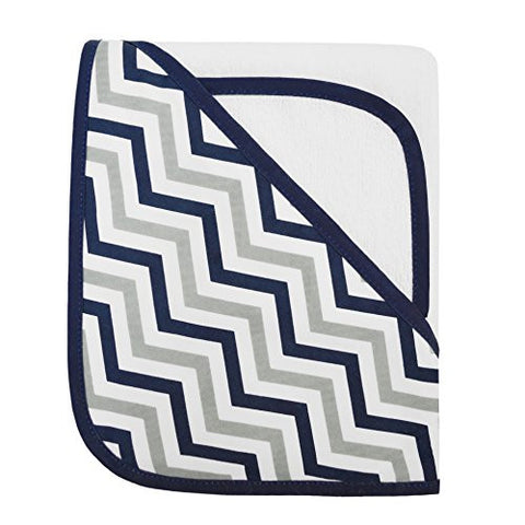 American Baby Company Zigzag Terry Hooded Towel Set made with Organic Cotton, Dark Navy