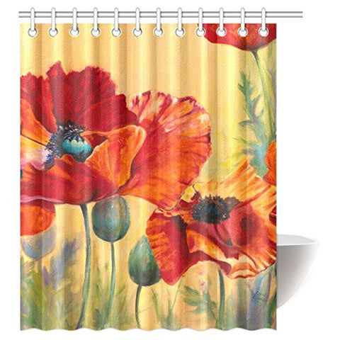 InterestPrint Beautiful Poppy Waterproof Polyester Fabric 60 (w) x 72 (h) Shower Curtain and Hooks