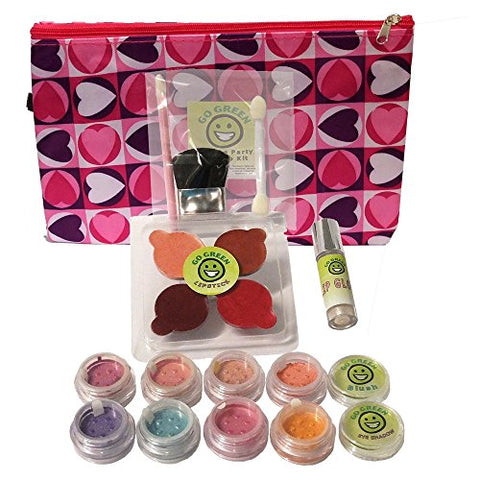 Make Up Kit - Go Green Organic Make Up Kit Real Make Up Set for Girls, For Pretend Play or Technique Practice, No Lead and Dyes, Perfect for Play Dates, Parties or Perfect for Summer Activities