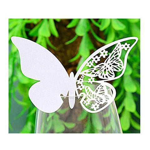 BETOP HOUSE 50-Piece Butterfly Wine Glass Identification Tags Place Cards for Wedding and Birdal Party