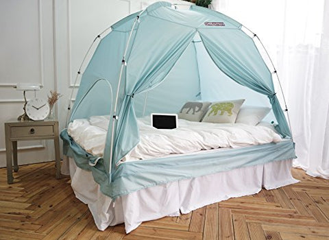 BESTEN Floorless Indoor Privacy Tent on Bed for Warm and Cozy Sleep inside Drafy Room (TWIN, Blue Mint)