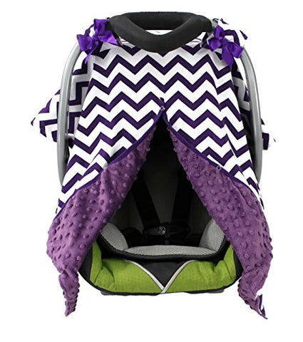 Onyx Arrow Carseat Canopy, Orchid White Chevron Cotton Print, Purple Minky Dot, Mix And Match