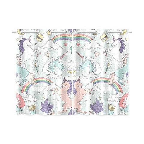 your-fantasia Cute Unicorns Rainbows Clouds Stars and Crystals Window Curtain Kitchen Curtain Two Pieces 26 x 39 inches