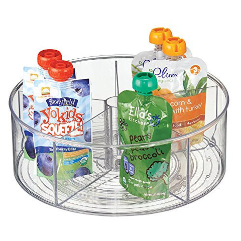 mDesign Lazy Susan Turntable Organizer for Baby Food Pouches, Formula, Jars - Clear
