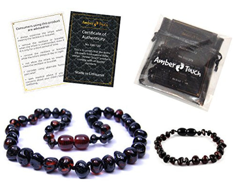 Baltic Amber Teething Necklace + Bracelet for Babies (Unisex) - Anti Flammatory, Drooling & Teething Pain Reduce Properties - Certificated Natural Baltic Amber with the Highest Quality. (Cherry)