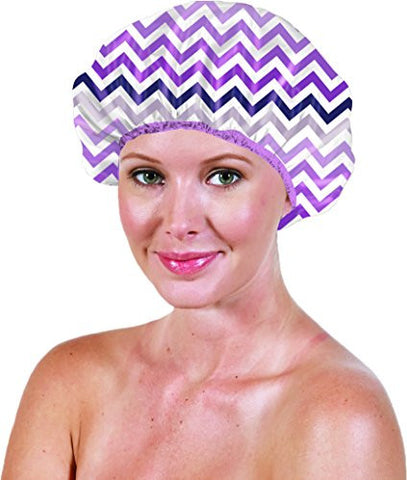 Betty Dain Stylish Design Terry Lined Shower Cap The Socialite Collection, Chic Chevron, 0.21 Pound