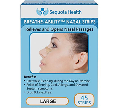Nasal Strips (45 COUNT) by Breathe-Ability - Relieves and Opens Nasal Passages - Relief of Snoring, Cold, Allergy, and Deviated Septum Symptoms (Large)