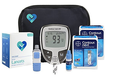 OWell Bayer Contour NEXT EZ Complete Diabetes Blood Glucose Testing Kit, METER, 100 Test Strips, 100 Lancets, Lancing Device, Control Solution, Manual, Log Book & Carry Case