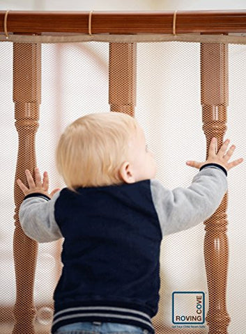 Roving Cove Safe Rail – 5ft L x 3ft H – INDOOR Balcony and Stairway Railing Safety Net – ALMOND color – Banister Stair Net – Child Safety; Pet Safety; Toy Safety; Stairs Protector