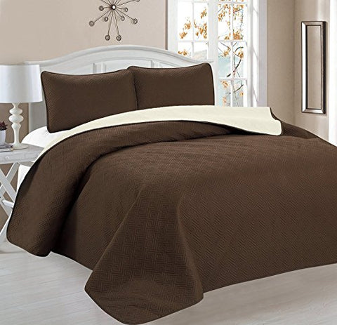 Deluxe Greek Design Reversible 3pc Coverlet Quilt Set BedSpread  FULL/QUEEN Size  Coffee / Tan