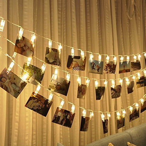 LED Photo String Lights-Magnolora 20 Photo Clips Battery Powered Fairy Twinkle Lights, Wedding Party Home Decor Lights for Hanging Photos, Cards and Artwork (7.2 Feet, Warm White)