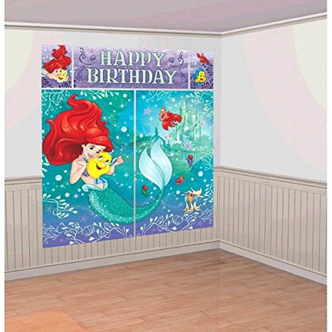 Disney Little Mermaid Princess Ariel Dream Big Kids Party Scene Setter Wall Decorations Kit - Kids Birthday and Party Supplies Decoration