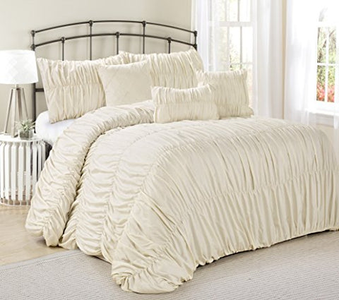 7 Piece Rosales Chic Ruched Ruffled Pleated Comforter Sets Ivory- Queen King size (Queen)