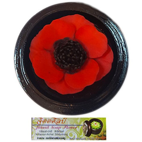 Jittasil Hand-Carved Soap Flower, Red Poppy Scented Gift Set, 4 Inch
