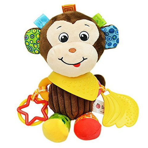 BabyPrice Baby Cute Monkey Doll with Teether Educational Toys Developmental Sensory Clip On Toy