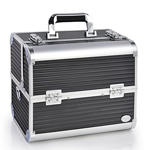 Joligrace Makeup Train Case - 12  Aluminum Carrier Cases Large Box Metal Storage with 6 Trays Ribbed Surface - Black