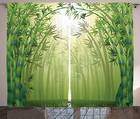 Olive Green Curtains Bamboo Decor By Ambesonne, Illustration Of Bamboo Trees in Rain Forest Far Eastern Wildlife Tropical Nature, Living Room Bedroom Decor, 2 Panel Set, 108 W X 84 L Inches, Green