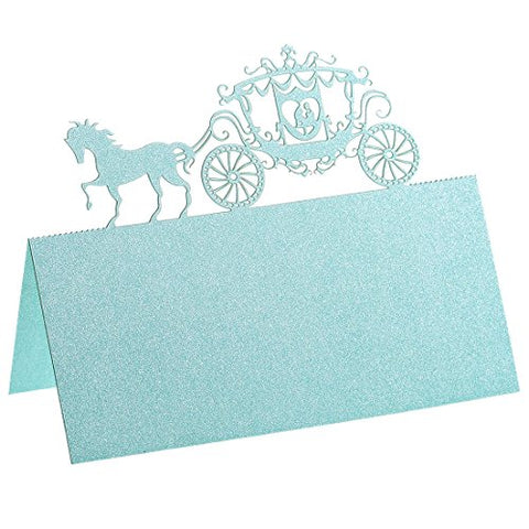YUFENG Place Cards Laser Cut Table Name Cards For Wedding Birthday Party (60pcs Tiffany blue)