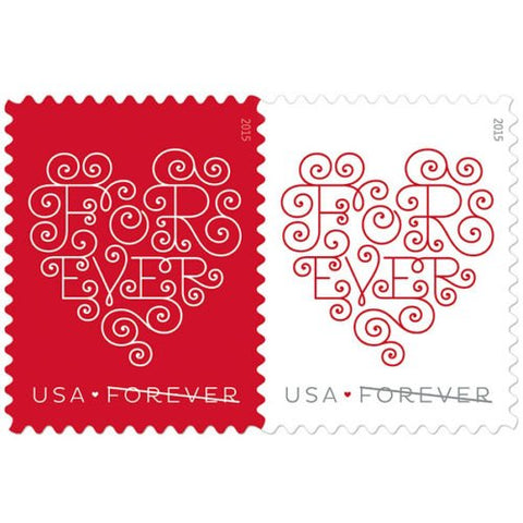 USPS Forever Hearts Forever Stamps - Sheet of 20 Stamps