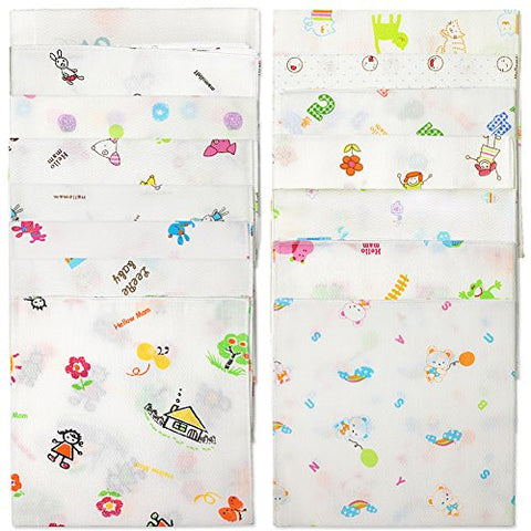 Sweet Layette 15 Pcs 100% Cotton Baby Handkerchief Gauze Muslin Square