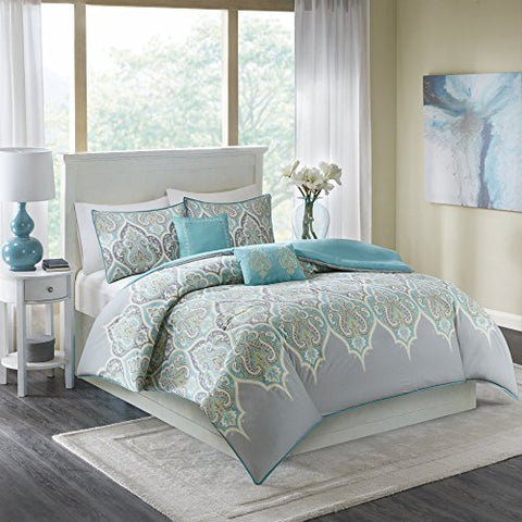 Comfort Spaces  Mona Cotton Printed Duvet Cover Set - 3 Piece  Teal Grey  Paisley Design  Queen Size, includes 1 Duvet Cover, 2 Shams, Include Corner Ties