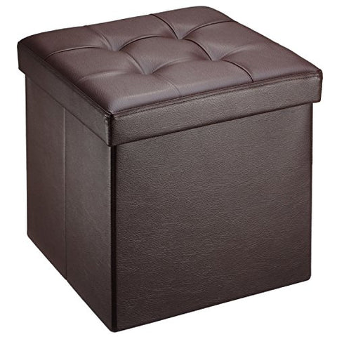 Ollieroo Faux Leather Folding Storage Ottoman Bench Seat Foot Rest Stool (15x15x15 Brown)
