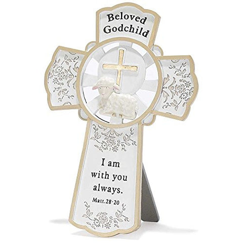 Dicksons Resin Tabletop Wall Cross, Beloved Godchild/White