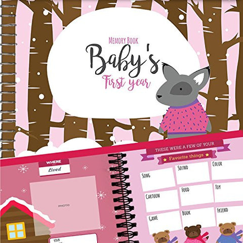 MEMORY BOOK + STICKERS - Unconditional Rosie Baby Girl's First Year Record Book With 12 Milestone Stickers Included