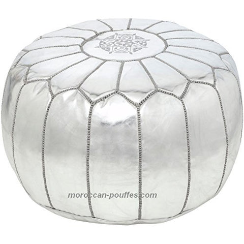 moroccan poufs leather luxury ottomans footstools silver unstuffed