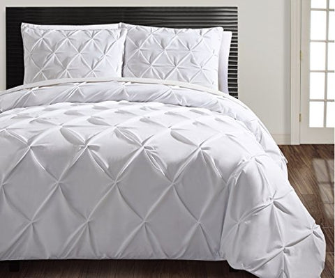 King Size Removable Duvet Cover Set in White Posh Pintuck 3 Pc Set w/ Unfilled , 2 Shams