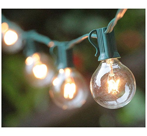 25FT G40 Globe String Lights with 25 Clear Bulbs, Outdoor Market Lights for Outdoor and Indoor Decoration, Garden, Party, Wedding, Pergola, Backyard, Umbrella, Patio Outdoor Light String, Green Wire